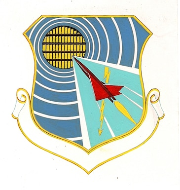 The original AEDC emblem is pictured. In 1994 unit designations were not placed on the scrolls of emblem paintings. (U.S. Air Force photo)