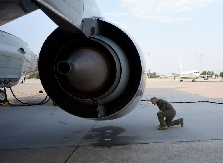 Nebraska National Guard Lt. Col. Mike Holdcroft, 170th Operational Support Squadron commander, conducts a preflight inspection on one of the  RC-135V/W Rivet Joint's four CFM International F108-CF-201 high-bypass turbofan engines Aug. 5, 2018 at Offutt Air Force Base, Nebraska. Holdcroft was the aircraft commander of a unique training sortie with a flight and mission-crew comprised almost exclusively of reserve component Airmen. The aircraft is an extensively modified C-135. The Rivet Joint's modifications are primarily related to its on-board sensor suite, which allows the mission crew to detect, identify and geolocate signals throughout the electromagnetic spectrum. The mission crew can then forward gathered information in a variety of formats to a wide range of consumers via Rivet Joint's extensive communications suite. (U.S. Air Force photo by 2nd Lt. Drew Nystrom)