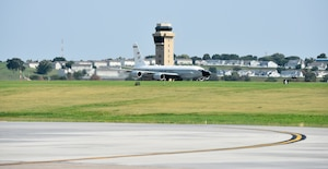An Offutt-based RC-135V/W Rivet Joint accelerates during takeoff Aug. 5, 2018 at Offutt Air Force Base, Nebraska. The aircraft was flown during a unique training sortie with a flight and mission-crew comprised almost exclusively of reserve component Airmen. The aircraft is an extensively modified C-135. The Rivet Joint's modifications are primarily related to its on-board sensor suite, which allows the mission-crew to detect, identify and geolocate signals throughout the electromagnetic spectrum. The mission crew can then forward gathered information in a variety of formats to a wide range of consumers via Rivet Joint's extensive communications suite. (U.S. Air Force photo by 2nd Lt. Drew Nystrom)