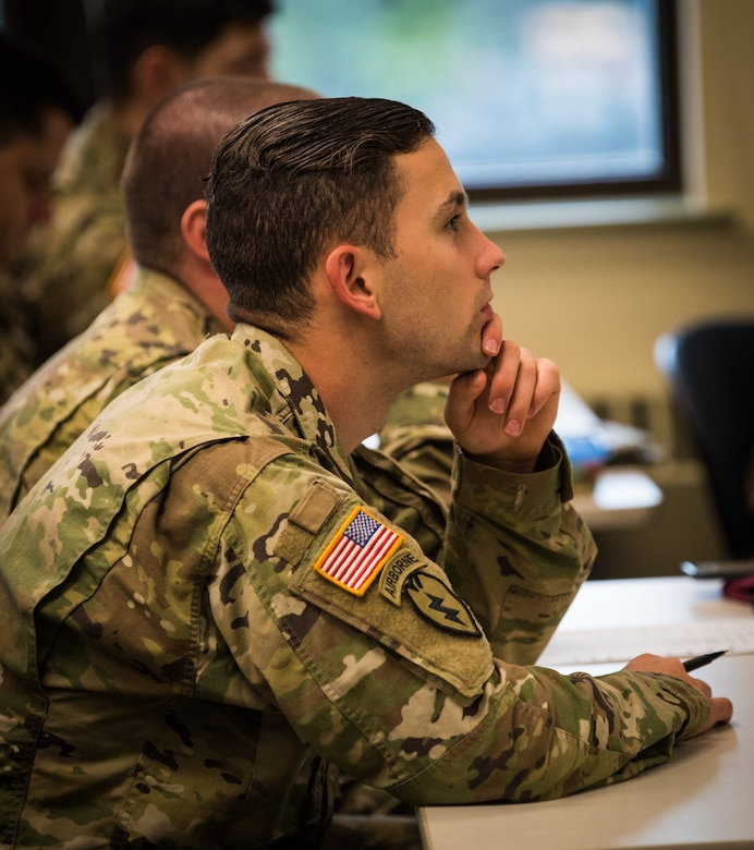U.S. Army Alaska Soldiers attend a class at the education center on Joint Base Elmendorf-Richardson, Alaska, Aug. 8, 2018. The Education Center assists Airmen, Soldiers and family members in meeting their personal and professional development goals through a variety of educational, training and testing programs.