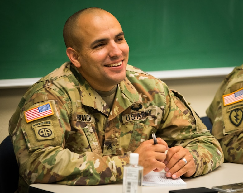A U.S. Army Alaska paratrooper attends a class at the education center on Joint Base Elmendorf-Richardson, Alaska, Aug. 8, 2018. The education center hosts four colleges, offering undergraduate and graduate-level programs. It also provides information on supplemental funding for education, such as federal student aid, scholarships and the GI Bill.
