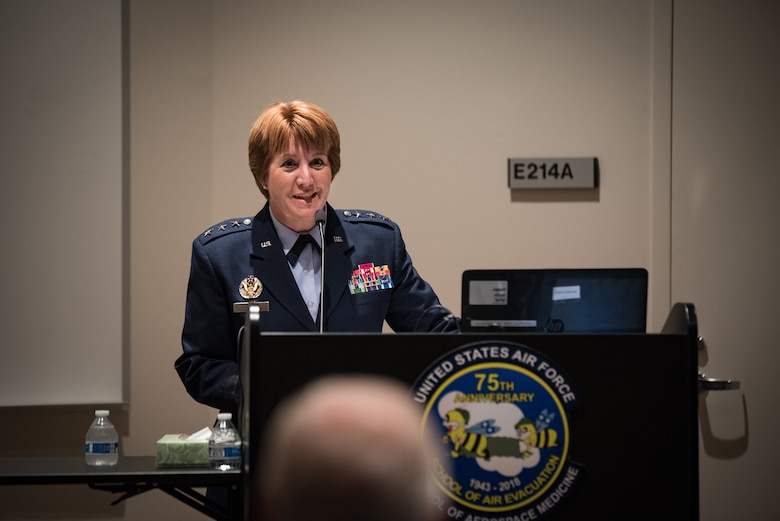 "Lt. Gen. Dorothy Hogg, U.S. Air Force Surgeon General, kicked off the School of Air Evacuation's 75th anniversary event by thanking the audience for the opportunity to celebrate a remarkable milestone of what she calls ""disruptive innovation."" The two-day event was held at USAFSAM, part of the larger centennial celebration. (U.S. Air Force photo by Rick Eldridge)"