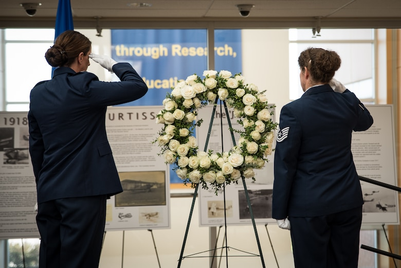 The School of Air Evacuation's 75th anniversary event included a wreath laying ceremony in remembrance of the flight nurses and technicians who have lost their lives in the line of duty. The two-day event was held at USAFSAM, part of the larger centennial celebration. (U.S. Air Force photo by Rick Eldridge)