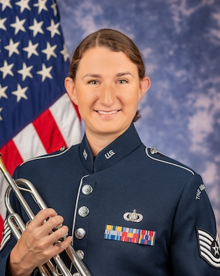 Technical Sergeant Kristin Cazenave is a trumpeter with the Ceremonial Brass, The United States Air Force Band, Joint Base Anacostia-Bolling, Washington, D.C. Her Air Force career began in 2011 with the Heartland of America Band at Offutt Air Force Base, Omaha, Nebraska. During her time there, she performed with The Noteables jazz ensemble, Brass in Blue, the Concert Band, and the Marching Band. Her second assignment took her out to the U.S. Air Force Academy Band, Peterson Air Force Base, Colorado Springs, Colorado in 2013. While there, Sergeant Cazenave performed with Stellar Brass, the Concert Band, and the Marching Band.