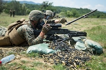 U.S. Marines with Black Sea Rotational Force 18.1, execute a barrel change during Exercise Platinum Lion 18 at Novo Selo Training Area, Bulgaria, Aug. 3, 2018. Platinum Lion is an annual field training exercise that reinforces relationships in a joint training environment, builds understanding of partner nation tactics, techniques and procedures, and increases interoperability with Allied and partner forces.