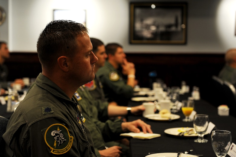 Squadron commanders from the 14th Flying Training Wing listen to Maj. Gen. Patrick Doherty, 19th Air Force commander at Columbus Air Force Base, Mississippi Aug. 6, 2018. Doherty talked about how the 19th Air Force wants to have just as much insight at the squadron level with ongoing problems in order to fix them faster and more efficiently. (U.S. Air Force photo by Airman 1st Class Beaux Hebert)