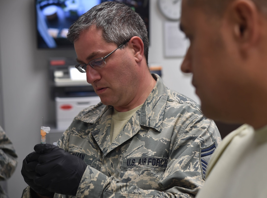 Newman received immunization augmentation training while at Spangdahlem in order to better assist the needs of the Airmen back home at Youngstown Air Reserve Station.