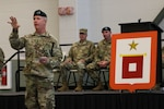 "Maj. Gen. James Hoyer, the Adjutant General of the West Virginia National Guard address Soldiers of the 620th Signal Company during a color casing ceremony held Aug. 5, 2018, at the Hershel ""Woody"" Williams Armed Forces Reserve Center in Fairmont, West Virginia. The color casing ceremony marked the company's deactivation after nine years of providing enhanced Warfighter Information Network-Tactical capabilities to missions around the state and the world. (U.S. Army National Guard photo by Sgt. Zoe Morris)"