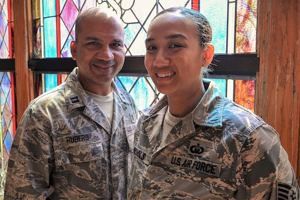 U.S. Air Force Chaplain (Capt.) Eddie Rubero, 20th Fighter Wing (FW) chaplain, left, and Staff Sgt. Quyen Nichols, 20th FW chapel noncommissioned officer in charge of training and readiness, stand for a photo at Shaw Air Force Base, S.C., Aug. 2, 2018.