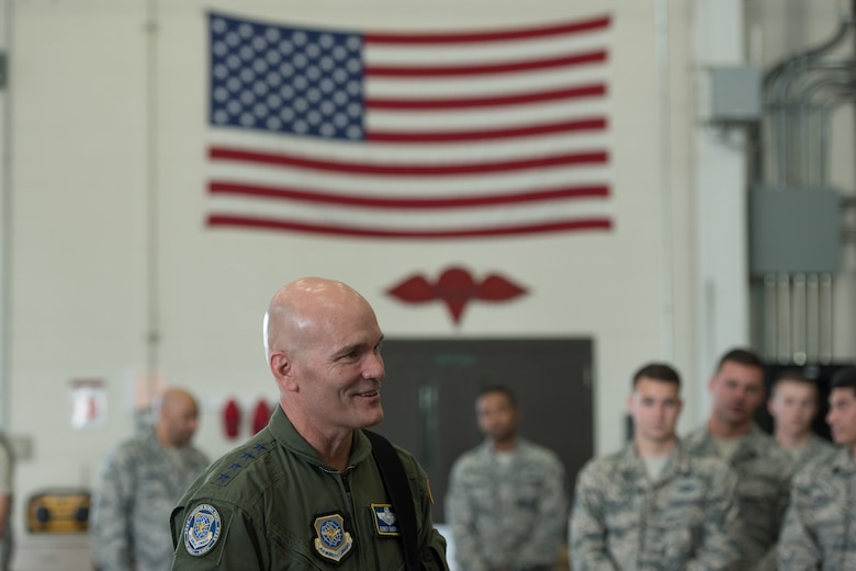 The commander of Air Mobility Command, Gen. Carlton D. Everhart II, speaks with Airmen from the 123rd Airlift Wing during a tour of the Kentucky Air National Guard Base in Louisville, Ky., Aug. 3, 2018. The wing is home to 1,200 Airmen and eight C-130H Hercules aircraft. (U.S. Air National Guard photo by Airman Chloe Ochs)