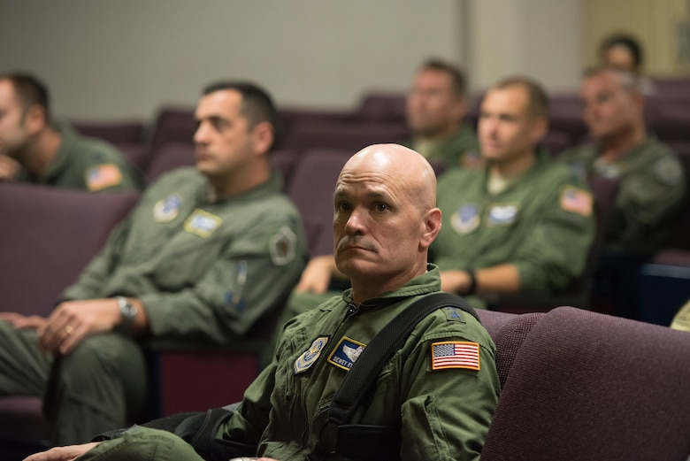 The commander of Air Mobility Command, Gen. Carlton D. Everhart II, attends an operations briefing with Airmen from the 123rd Airlift Wing during a tour of the Kentucky Air National Guard Base in Louisville, Ky., Aug. 3, 2018. The wing is home to 1,200 Airmen and eight C-130H Hercules aircraft. (U.S. Air National Guard photo by Airman Chloe Ochs)