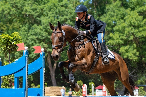 HALLE, Germany -- Maj. Michelle Kelly, the 1st Space Brigade S4 in Colorado Springs, Colorado, jumps an obstacle during the Modern Pentathlon Masters World Championship July 9-14 in Halle, Germany, where she won gold. (Courtesy photo)