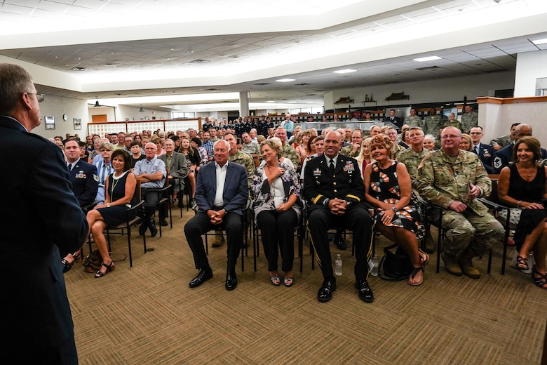 Maj. Gen. Gregory L. Ferguson, Air National Guard assistant to the commander, Air Force Special Operations Command (AFSOC), Hurlburt Field, Florida, speaks to an audience of more than 200 during his retirement ceremony at Will Rogers Air National Guard Base in Oklahoma City, Aug. 4, 2018.