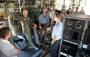Lt. Col. Sean Cross, 53rd Weather Reconnaissance Squadron instructor pilot, gives a tour of a WC-130J of the 53rd WRS, 403rd Wing, during a base tour for Congressional Staffers from the offices of Senator Wicker, Senator Hyde-Smith and Congressman Kelly on Aug. 6, 2018, at Keesler Air Force Base, Mississippi. The tour gave an overview of the 403rd WG, 81st Training Wing and highlighted the potential issues which may need support. (U.S. Air Force photo by Senior Airman Nathan Byrnes