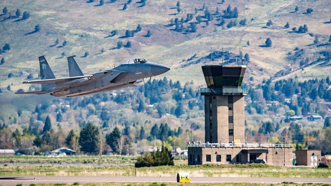 F-15 Eagle and control tower