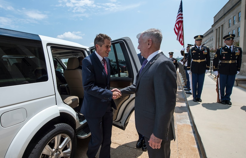 Defense Secretary James N. Mattis greets British Defense Secretary Gavin Williamson at the Pentagon.