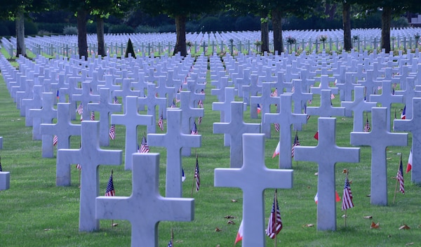 Gravestones of some of the 6,012 American buried at the Oise-Aisne American Cemetery in Seringes et Nesles, France.Air Force Gen. Joseph Lengyel, the chief of the National Guard Bureau, visited to honor the dead here.
