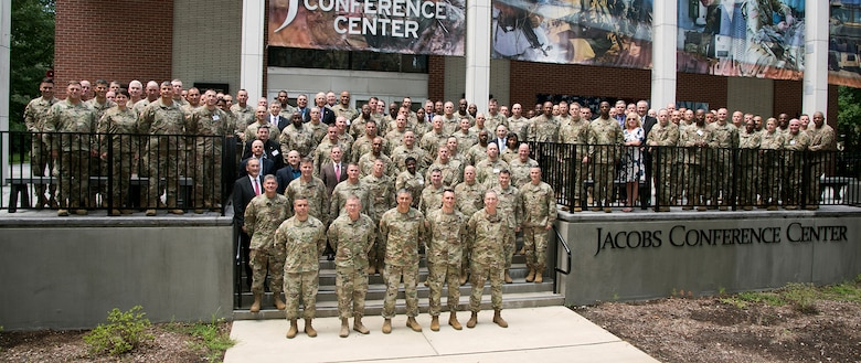 U.S. Army Training and Doctrine Command senior leaders pose for a group photo outside the Jacobs Conference Center during the TRADOC Commanders' Conference at Fort Eustis, Va., Aug. 1, 2018. (U.S. Army photo by Angel Clemons)