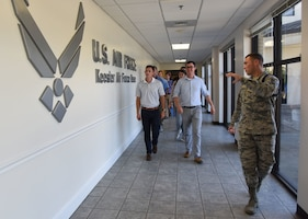 U.S. Air Force Tech. Sgt. Zachary Bartlett, 81st Training Group military training leader, briefs congressional staffers on the Levitow Training Support Facility functions used by the Airmen in the 81st TRG on Keesler Air Force Base, Mississippi, Aug. 6, 2018. The staffers visited Keesler from the offices of Senators Roger Wicker and Cindy Hyde-Smith and Congressman Trent Kelly to receive an overview of the 81st Training Wing to identify areas which could use congressional support. (U.S. Air Force photo by Kemberly Groue)