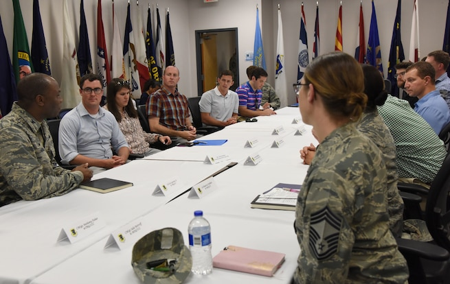 U.S. Air Force Col. Leo Lawson, Jr., 81st Training Group commander, briefs congressional staffers on training innovation projects at the Levitow Training Support Facility on Keesler Air Force Base, Mississippi, Aug. 6, 2018. The staffers visited Keesler from the offices of Senators Roger Wicker and Cindy Hyde-Smith and Congressman Trent Kelly to receive an overview of the 81st Training Wing to identify areas which could use congressional support. (U.S. Air Force photo by Kemberly Groue)