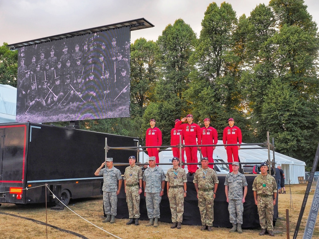 U.S. Air Force Staff Sgt. Jason Chipley, 145th Logistics Readiness Squadron, stands at attention along with members from the United States Air Force Reserves and Royal Air Force during Battle Proms at Hatfield Park, Hatfield, United Kingdom, July 14, 2018. The Military Reserve Exchange Program not only allows military members to learn and exchange ideas about their respective career fields, but it also provides the opportunity to be immersed in the host country's culture.