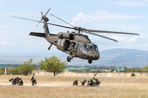 A Georgia Army National Guard UH-60 Black Hawk from the Marietta based, 1st Battalion, 171st Aviation Regiment, lifts off rapidly after inserting Georgian special forces during an urban operations exercise at the Vaziani Training Area on Aug 5, 2018, during Noble Partner 18.  The exercise highlights the 24 years the two militaries have worked together under the U.S. National Guard's State Partnership Program.  A Georgia Army National Guard UH-60 Black Hawk from the Marietta based, 1st Battalion, 171st Aviation Regiment, lifts off rapidly after inserting Georgian special forces during an urban operations exercise at the Vaziani Training Area on Aug 5, 2018, during Noble Partner 18.  The exercise highlights the 24 years the two militaries have worked together under the U.S. National Guard's State Partnership Program.    A Georgia Army National Guard UH-60 Black Hawk from the Marietta based, 1st Battalion, 171st Aviation Regiment, lifts off rapidly after inserting Georgian special forces during an urban operations exercise at the Vaziani Training Area on Aug 5, 2018, during Noble Partner 18.  The exercise highlights the 24 years the two militaries have worked together under the U.S. National Guard's State Partnership Program.    A Georgia Army National Guard UH-60 Black Hawk from the Marietta based, 1st Battalion, 171st Aviation Regiment, lifts off rapidly after inserting Georgian special forces during an urban operations exercise at the Vaziani Training Area on Aug 5, 2018, during Noble Partner 18.  The exercise highlights the 24 years the two militaries have worked together under the U.S. National Guard's State Partnership Program.
