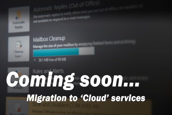 Technicians began migrating Laughlin email from the Air Force network to the secure commercial cloud July 31, 2018. The migration is taking place because of an Air Force Space Command directive to realign resources to more critical priorities and outsourcing services such as email. (U.S. Air Force graphic by Airman 1st Class Marco A. Gomez)