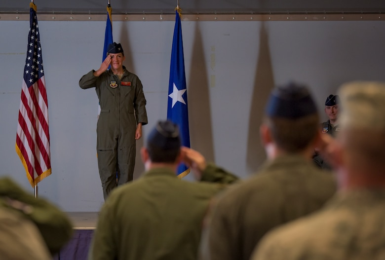 Col. Samantha Weeks, 57th Adversary Tactics Group outgoing commander, renders a final salute during a change of command ceremony at Nellis Air Force Base, Nevada, Aug. 3, 2018. Weeks was the 57th ATG commander for nearly two years. (U.S. Air Force photo by Airman 1st Class Andrew D. Sarver)