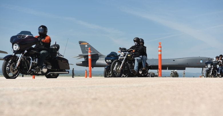 Motorcyclists ride out on the Dakota Thunder Run at Ellsworth Air Force Base, S.D., Aug. 7, 2018. Over 150 participants rode 53 miles from Ellsworth AFB to the Sturgis Motorcycle Rally, where they helped kick off Military Appreciation Day events. (U.S. Air Force photo by Airman 1st Class Thomas Karol)