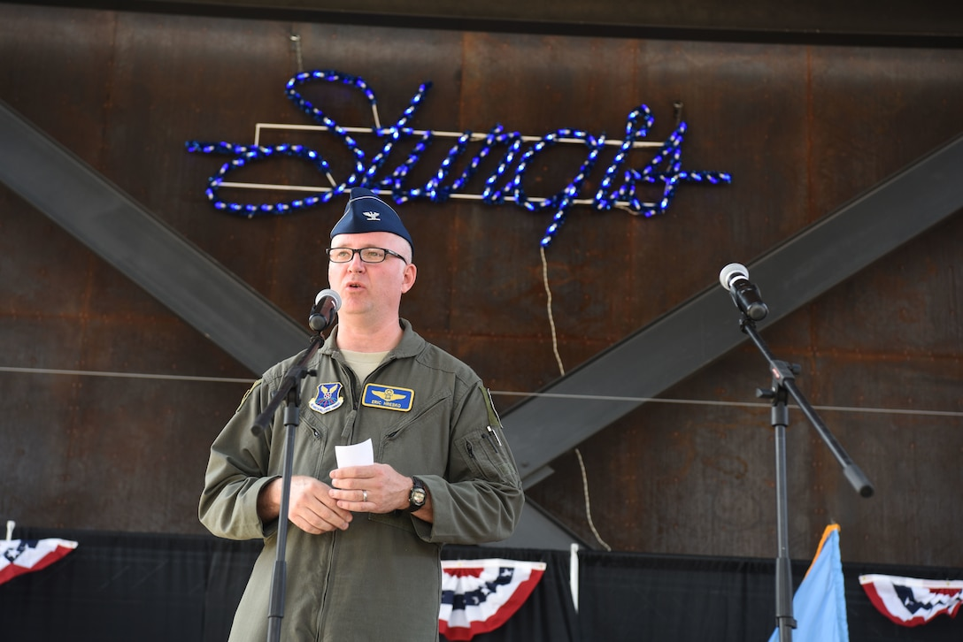 Col. Eric Hresko, the 28th Bomb Wing vice commander, addresses the crowd during a Veterans Appreciation Day event in Sturgis, S.D., Aug. 7, 2018. Every first Tuesday of the Sturgis Motorcycle Rally is Military Appreciation Day, which honors all who have served and those who continue to serve in the U.S. military. (U.S. Air Force photo by Airman 1st Class Thomas Karol)