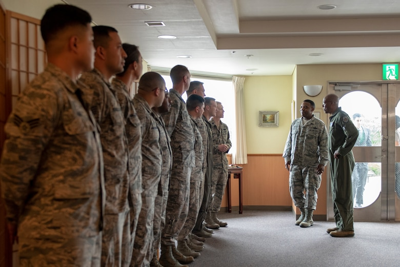 Col. Otis C. Jones, 374th Airlift Wing commander, introduces a few of the outstanding performers from Fifth Air Force and the 374 AW to Gen. CQ Brown, Jr., Pacific Air Forces commander, at Yokota Air Base, Japan, Aug. 8, 2018. This was Brown's first trip to the region since taking command on July 26, 2018.