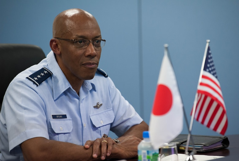 Gen. CQ Brown, Jr., Pacific Air Forces commander, attends an office call with Lt. Gen. Shigeki Muto, Air Defense Command (ADC) commander, during his visit to Yokota Air Base, Japan, Aug. 6, 2018. While at the ADC, Brown observed a ballistic missile defense demonstration and visited with the Airmen responsible for the vital mission set. (U.S. Air Force photo by Staff Sgt. Hailey Haux)