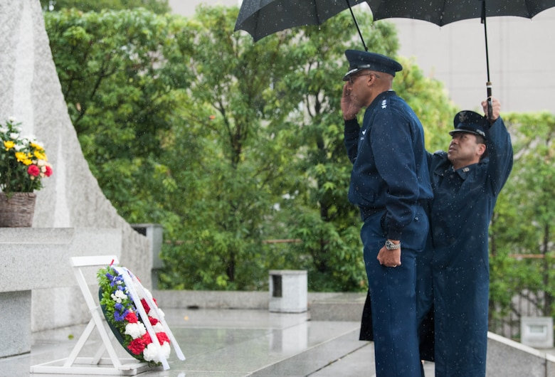 Gen. CQ Brown, Jr., Pacific Air Forces commander, renders a salute and pays his respects to the Japan Self Defense Force members who lost their lives while on duty, Ministry of Defense in Tokyo, Japan, Aug. 7, 2018. For more than 60 years, the U.S.-Japan alliance has been the cornerstone for stability and security in the region. (U.S. Air Force photo by Hailey Haux)
