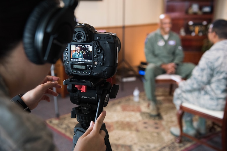 Gen. CQ Brown, Jr., Pacific Air Forces commander, is interviewed by American Forces Network Japan Airmen at Yokota Air Base, Japan, Aug. 8, 2018. During the interview, Brown discussed the importance of the U.S.-Japan alliance and the critical role Airmen play in ensuring a free and open Indo-Pacific region. (U.S. Air Force photo by Staff Sgt. Hailey Haux)