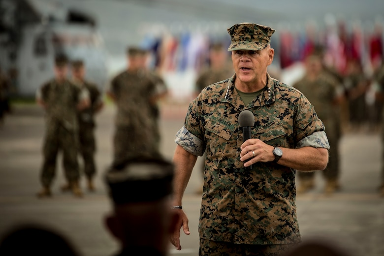 Commandant of the Marine Corps Gen. Robert B. Neller speaks during the MARFORPAC change of command ceremony at Marine Corps Base Hawaii, Aug. 8, 2018. The change of command ceremony represents the transfer or responsibility and authority between commanders. During the ceremony Lt. Gen. David H. Berger relinquished command to Lt. Gen. Lewis A. Craparotta.