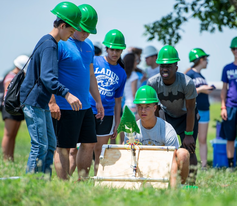 STEM campers launch a rocket at the Science, Technology, Engineering and Math Camp July 25, 2018.