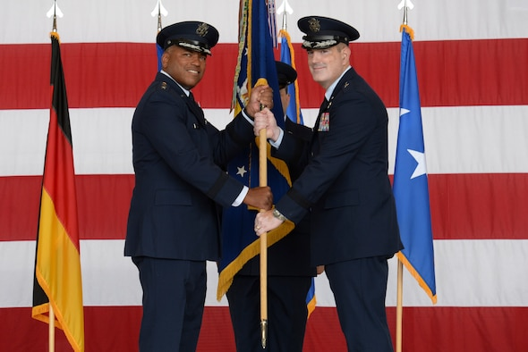 The men and women of the 86th Airlift Wing welcomed their new commander, Brig. Gen. Mark R. August, Aug. 9, 2018.