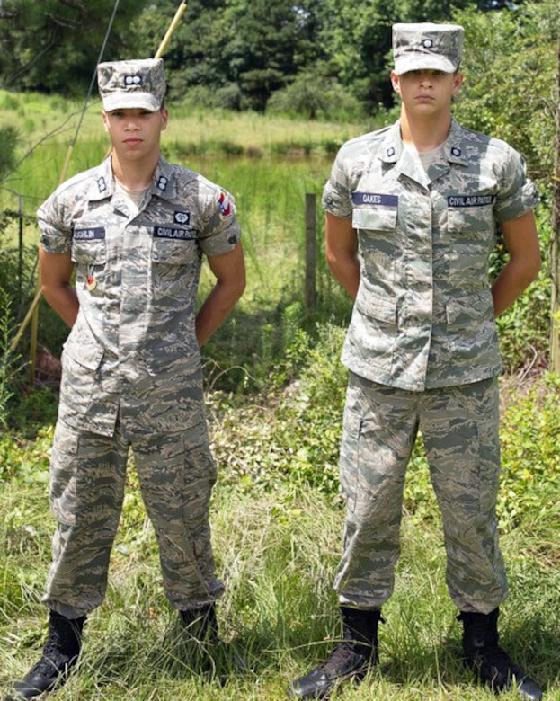 Cadet 1st Lt. Davis Laughlin (left) and Cadet 2nd Class Nathaniel Justin Oakes, members of the Peachtree City Falcon Field Composite Squadron of the Civil Air Patrol, were credited with saving a man's life following a multi-car accident Aug. 2, 2018, in Coweta County, Ga. Both Laughlin and Oakes credited their CAP training for their actions that night. (Courtesy photo)