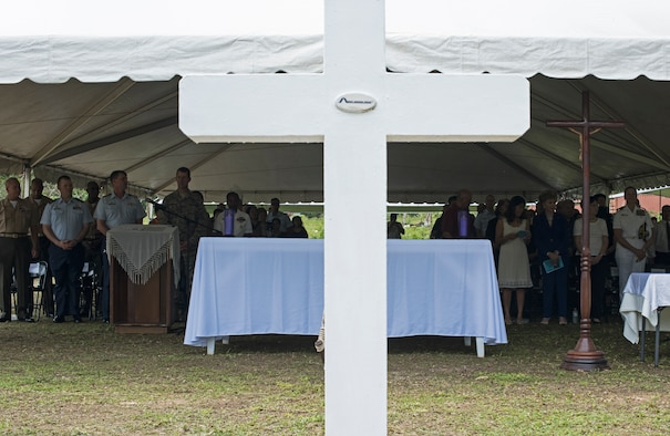 The Chaguian Massacre Memorial is held Aug. 8, 2018, in Yigo, Guam. The ceremony honored the lives of Chamorro men who were slain at the site in the wake of World War II. U.S. service members, Japanese dignitaries, local Chamorros, and descendants of the victims all attended to pay their respects. (U.S. Air Force photo by Tech. Sgt. Jake M. Barreiro)