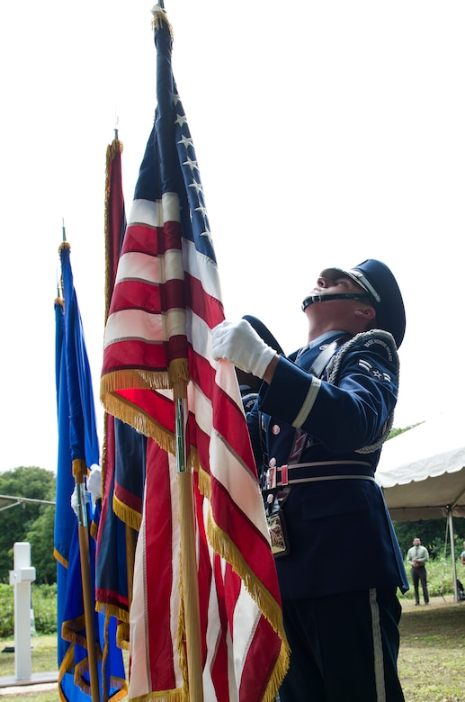 The Andersen Air Force Base Honor Guard posts the colors during the Chaguian Massacre Memorial August 8, 2018, in Yigo, Guam. The memorial commemorated the lives of 45 Chamorro men who were executed at the site in the wake of World War II. (U.S. Air Force photo by Tech. Sgt. Jake M. Barreiro)