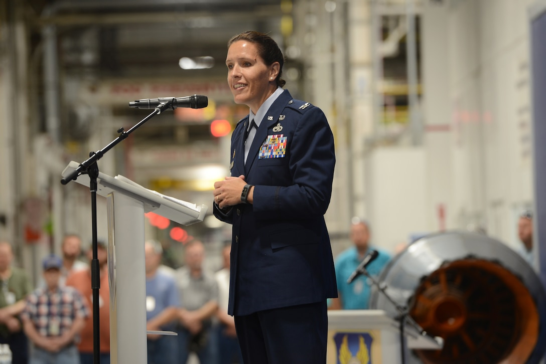 Oklahoma City Air Logistics Complex Commander Brig. Gen. Christopher Hill presided over the 76th Propulsion Maintenance Group's Change of Leadership ceremony in which Robert Helgeson relinquished leadership to Col. Abigail Ruscetta.