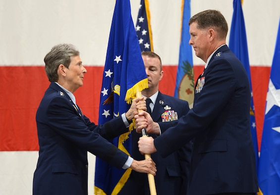 "Air Force Materiel Command Commander Gen. Ellen M. Pawlikowski was the presiding official for the Air Force Sustainment Center Change of Command in which Lt. Gen. Donald E. ""Gene"" Kirkland assumed command from Lt. Gen. Lee K. Levy II."