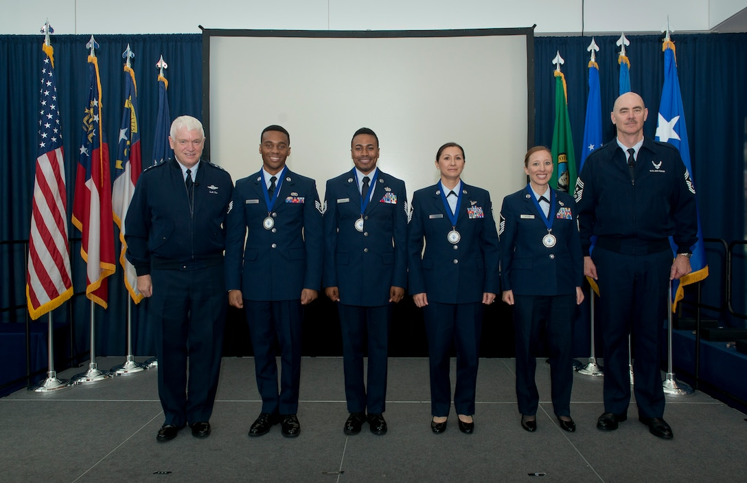The 2018 Air National Guard Outstanding Airmen of the Year were honored August 9, 2018 during a ceremony held at the Air National Guard Readiness Center, Joint Base Andrews, Md., as a part of Focus on the Force Week. (U.S. Air National Guard photo by Master Sgt. Marvin Preston).