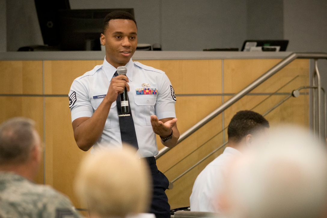 Staff Sgt. Wilson Gardner, one of the Air National Guard Outstanding Airmen of the Year attended the Chief's Executive Course at the ANG Readiness Center, Joint Base Andrews, Md., August 7, 2018, where he addressed the chiefs panel, sharing his thoughts on issues facing the enlisted members of the force. (U.S. Air National Guard photo by Master Sgt. Marvin Preston).