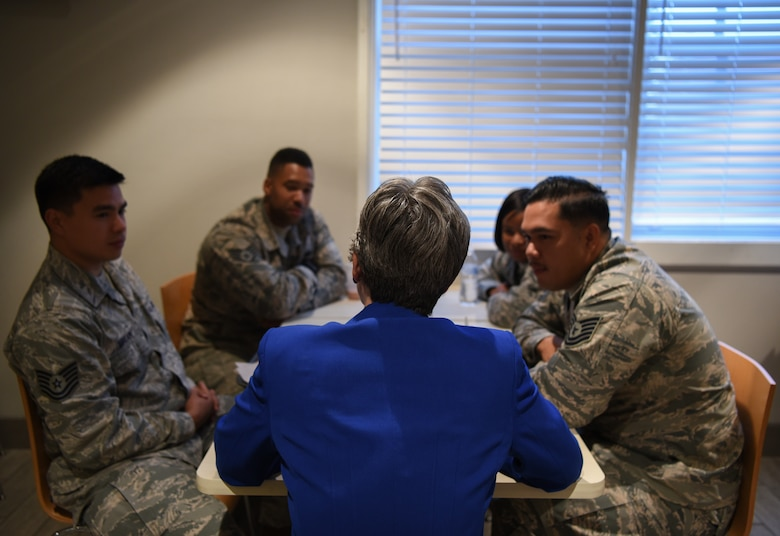Secretary of the Air Force Heather Wilson speaks to Airmen during breakfast about life at F.E. Warren and their career within the military Aug. 8, 2018, at F.E. Warren Air Force Base, Wyo. Wilson was able to speak with several groups of Airmen during the breakfast and provided insight to the rumored changes regionally and nationally impacting the Air Force. Wilson visited F.E. Warren Air Force Base to emphasize the importance of the 90th Missile Wing's deterrence mission and to thank the Airmen for ensuring the mission is accomplished safely, securely and effectively every day. (U.S. Air Force photo by Airman 1st Class Abbigayle Wagner)