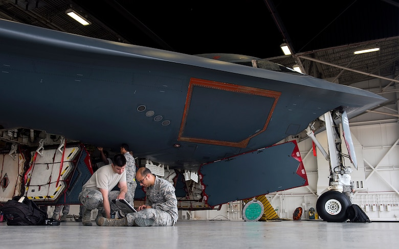 The 509th Aircraft Maintenance Squadron Airmen are the keepers of the B-2 Spirit. From landing gear to the steering system, it takes approximately one year for a member to be certified to perform maintenance on the aircraft. A full inspection of a B-2 typically takes three to four days. Every square inch of the aircraft is carefully scrutinized to ensure maximum combat readiness and a deployable force capable of projecting global firepower at a moment's notice, anytime and anywhere.