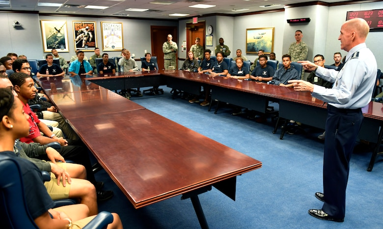 Vice Chief of Staff of the Air Force Gen. Stephen W. Wilson speaks with trainees from the Aviation Character Education Flight Program (ACE), Pentagon, Arlington, Va.,, August 1, 2018. The ACE program is a unique mentorship and motivational program for high school students and Air Force cadets.  (U.S. Air Force photo by Wayne A. Clark)