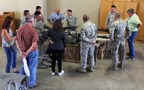 Reserve Citizen Airmen with the 433rd Security Forces Squadron show small arms weapons to civilian employers at an Operation Bosslift event Aug 4, 2018 at Joint Base San Antonio-Lackland, Texas. (U.S. Air Force photo by Tech Sgt. Iram Carmona)