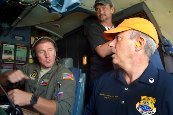 U.S. Air Force Tech. Sgt. Ryan Lohrer, 68th Airlift Squadron flight engineer, explains equipment and functions on a C-5M Super Galaxy aircraft to civilian employers during an Operation Boss Lift flight from Joint Base San Antonio-Lackland, Texas, Aug. 4, 2018. The flight was part of an event the Texas Employer Support of the Guard and Reserve program organized with the 433rd Airlift Wing to facilitate conversation between Reserve Citizen Airmen and their civilian employers. (U.S. Air Force photo by Staff Sgt. Lauren M. Snyder)