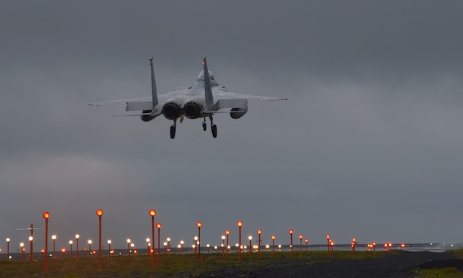 An F-15C Eagle assigned to the 493rd Expeditionary Fighter Squadron lands at Keflavik Air Base, Iceland, Aug. 2, 2018, during NATO's Icelandic Air Surveillance mission. NATO allies deploy aircraft and personnel to support this critical mission three times a year, with the U.S. responsible for at least one rotation annually. (U.S. Air Force photo/Staff Sgt. Alex Fox Echols III)